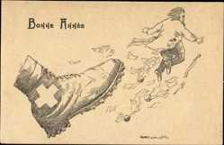 Künstler Ak Gegen Vermögenssteuer 1922, Bolchevik, Messer