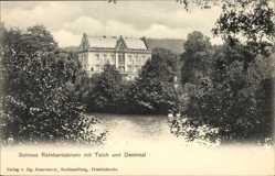Postcard Reinhardsbrunn Friedrichroda im Thüringer Wald, Schloss, Teich, Denkmal
