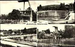 Postcard Friedrichroda im Thüringer Wald, Schwimmbad, Sprungturm