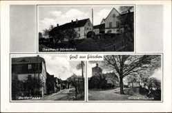 Postcard Görschen Mertendorf, Gasthaus Görschen, Kirche, Schule, Dorfstraße