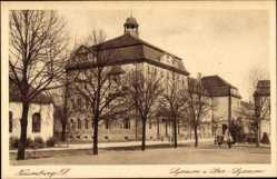Postcard Naumburg an der Saale, Lyzeum und Ober Lyzeum, Straßenpartie