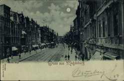 Mondschein Ak Magdeburg in Sachsen Anhalt, Breite Weg, Geschäfte