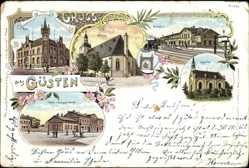 Litho Güsten im Salzlandkreis, Post, Kirche, Bahnhof, Bürgerschule