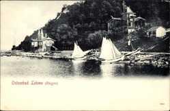 Postcard Lohme auf der Insel Rügen, Ostseebad, Segelboote am Ufer, Häuser