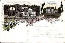 Litho Reinhardsbrunn Friedrichroda im Thüringer Wald, Hotel mit Schloss