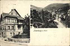 Postcard Ilsenburg am Nordharz, Straßenpartie mit Teich und Villa