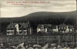 Postcard Schierke Wernigerode am Harz, Grand Hotel Brocken Scheideck mit Dependance