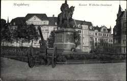 Postcard Magdeburg in Sachsen Anhalt, Kaiser Wilhelm Denkmal, Kanone