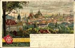 Künstler Litho Geissler, P., Erfurt in Thüringen, Blick v.d. Grolmannshöhe