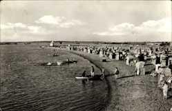 Ak Barleben in Sachsen Anhalt, Strand, Meer, Körbe, Besucher, Boote