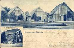 Postcard Güstritz, Gebäude, Bätje Gasthaus mit Familie, Fachwerk, Wiese