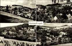 Postcard Kemtau Burkhardtsdorf im Erzgebirge, Blick auf den Ort, Felder
