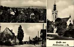 Postcard Niederwiesa in Sachsen, Teilansicht, Kirche, Dresdener Straße