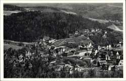 Postcard Oberschlema Bad Schlema Erzgebirge, Panorama vom Ort, Wälder, Häuser