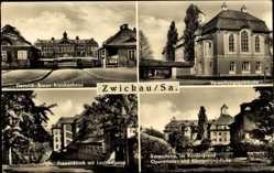 Postcard Zwickau in Sachsen, Heinrich Braun Krankenhaus, Frauenklinik, Verwaltung