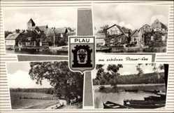 Wappen Ak Luftkurort Plau am See, Seepartie, Blick auf den Ort, Kirche