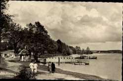 Postcard Luftkurort Plau am See, Seelust, Wegpartie am See, Bootsstege