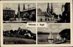 Postcard Oelsnitz Vogtland, Schloss Voigtsberg, Elsterstausee bei Pirk, Straße