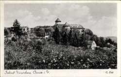 Postcard Oelsnitz im Vogtland, Blick auf Schloß Voigtsberg v.d. Wiese aus