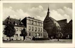 Postcard Bad Wilsnack in der Prignitz, Straßenpartie mit Kirche und Rathaus