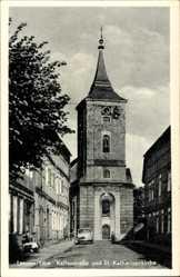Postcard Lenzen an der Elbe, Blick durch die Kellerstraße z. Katharinenkirche