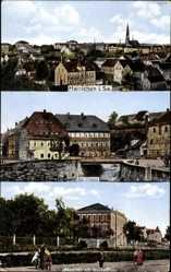 Postcard Hainichen in Sachsen, Totalansicht der Ortschaft, Am Graben, Technikum