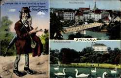 Postcard Zwickau in Sachsen, Fritze Bliemchen, Paradiesbrücke, Schwanenschloss
