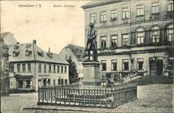Postcard Hainichen Sachsen, Blick auf das Gellert Denkmal, Rainskeller