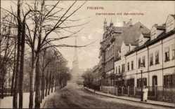 Postcard Freiberg im Kreis Mittelsachsen, Hornstraße mit Jakobikirche