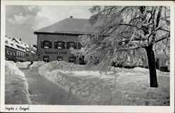 Postcard Sayda im Erzgebirge ,Straßenpartie mit Blick auf Goldener Löwe, M. Neubert