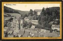 Ak Stolberg Südharz, Totalansicht der Ortschaft, Kirche, Felder, Schloss