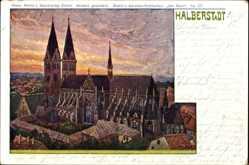 Künstler Litho Bahndorf, Halberstadt in Sachsen Anhalt, Blick auf die Kirche