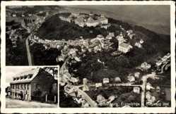 Postcard Augustusburg im Erzgebirge, Ratskeller, C. E. Matthes, Totale,Fliegeraufnahme