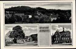 Ak Goldschau Osterfeld, Dorfstraße mit Gasthof, Rittergut, Totale