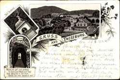 Vorläufer Litho Treseburg im Harz, Pfeil Denkmal, Wilhelms Blick, 1895
