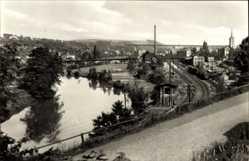 Postcard Wilkau Haßlau in Sachsen, Straßenpartie, Flusspartie, Bahnstrecke, Ort