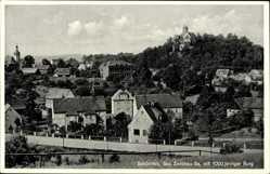 Postcard Schönfels Lichtentanne in Sachsen, Blick auf den Ort mit 1000jähriger Burg