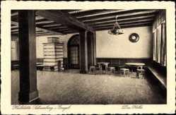 Postcard Schneeberg Neustädtel Erzgebirge, Heilstätte, die Halle, Kachelofen