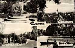 Postcard Meerane in Sachsen, Weberbrunnen, Gondelteich, Wehrgasse, Friedrichstraße