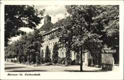 Postcard Meerane in Sachsen, Straßenpartie mit Blick auf die Lindenschule