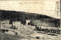 Ak Blankenburg am Harz, Bahnhof Braune Sumpf und Bielstein Tunnel, Güterzug