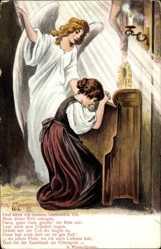 Künstler Ak Am Elterngrab, Frau beim Gebet, Engel, Und wenn ich einstens
