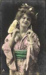 Postcard Frau in Asiatischer Kleidung, Kimono, PH 957 3
