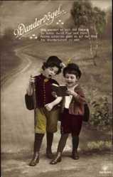 Postcard Wandervögel, Kinder als Wanderer, Liederbuch, RPH 5619 20