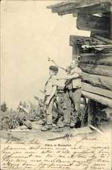 Ak Patre et Boveyron, Mann mit Pfeife, Holzhütte