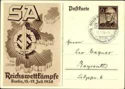 Ganzsachen Ak Berlin, SA Reichswettkämpfe 1938, SA Sportabzeichen