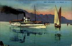 Postcard Lac Leman Schweiz, Salondampfer Geneve auf dem Genfer See