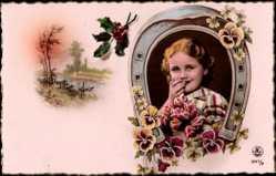 Ak Mädchenportrait, Huffeisen, Flusspartie, Stiefmütterchen