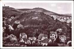 Ak Blankenburg am Harz, Gesamtansicht des Ortes mit Bergen