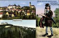 Ak Augustusburg im Erzgebirge, Totale, Schloss, Fritze Bliemchen